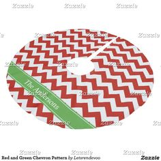 Red and Green Chevron Pattern Brushed Polyester Tree Skirt