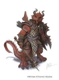 Fantasy Character Workshop #002,Race: Dragonoid by William O'Connor Studios    / http://williamoconnorstudios.blogspot.fr/2016/11/randomly-generated-character-002.html