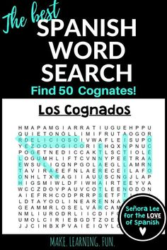 Build confidence with Spanish Cognates! Find 50 easy to learn cognates and get them speaking in Spanish quickly! Use Spanish word searches as homework, fast finishers, an after test activity or as SUB plans. Spanish Teaching Resources, Spanish Activities, Spanish Worksheets, Spanish Games, School Resources, Writing Activities, Spanish Words, How To Speak Spanish, Spanish 1