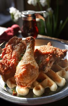 (Leah Hogsten  |  The Salt Lake Tribune)  Chicken and Waffles as served at the Salt Lake City's The Garage on Jan. 2, 2013.