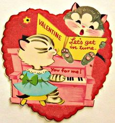 cats playing piano, 1940s Valentine