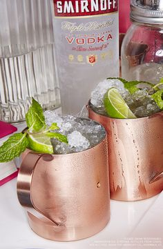 Smirnoff Moscow Mule.   Just mix 1.5 oz Smirnoff Vodka, 5 oz Ginger Beer, Mint + Limes for garnish.