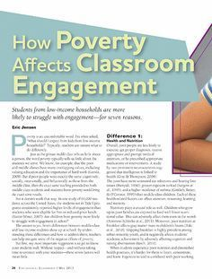 How Poverty Affects Classroom Engagement Educational Leadership - May 2013 - Page 24 So refreshing that this is getting acknowledged. Tired of hearing this shouldn't or doesn't have an effect on learning. School Leadership, Educational Leadership, Educational Technology, Educational Administration, Leadership Activities, Leadership Coaching, Educational Websites, Teaching Strategies, Teaching Tips