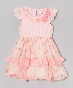 Take a look at this Pink Floral Ruffle Dress - Infant, Toddler & Girls on zulily today!