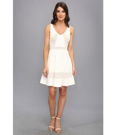 ABS Allen Schwartz Dotted Lace Panel Fit & Flare Dress