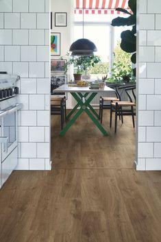 Plank, Corner Desk, Tile Floor, New Homes, Dining Table, Elegant, Furniture, Nooks, Home Decor