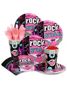 Ack!  Just found these and may want to switch from the zebra plates, napkins and cups! Too many choices!  Rock Star Girl Standard Kit -Rock Star Party Supplies