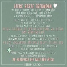 Liebe beste Freundin du bist Person mit der ich zu jeder