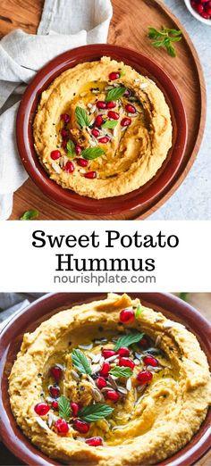 Healthy Hummus Recipe, Vegan Hummus, Healthy Snacks, Simple Hummus Recipe, Healthy Dip For Veggies, Sweet Potato Hummus, Sweet Potato Recipes, Sweet Potato Snack, Savoury Recipes