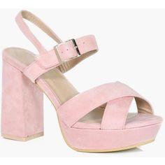Boohoo Imogen Cross Strap Platform Heels ($56) ❤ liked on Polyvore featuring shoes, sandals, flatform sandals, jelly shoes, jelly sandals, summer sandals and high heeled footwear