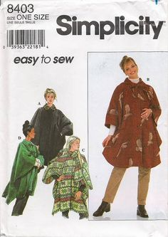 simplicity 8403 Cape Cloak Jacket Sweater Snuggie DIY Juniors Women's Misses' sewing pattern @TimeTravelStyle #timetravelcostumes