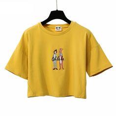 8dc3c40039722 Ohh Lala Print Harajuku Style Crop Top Shirt