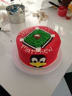 Decorated with mother and son right here at Sweetology. #STL #Cardinalsbaseball #Birds #Baseball #fun #cake