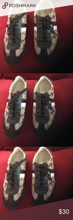 Coach sneakers shoes Coach sneakers shoes good used condition brown size 9.5 Coach Shoes Sneakers
