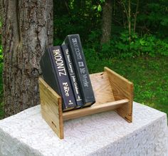 """The BlackWater Book Rack - """"Wormy"""" Hickory Book Rack from BlackWater Workshops by BlackWaterWorkshops on Etsy"""