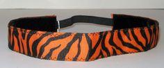 No Slip Headband, Tiger Headband, Yoga Headband, Workout, Exercise, Orange, Zebra, Hair, Fashion, Style, Run, Sport, Jog