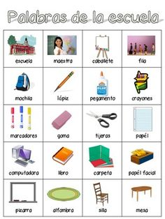 Spanish Word Wall- School Words would be fun for classroom tour to include things we will be looking at