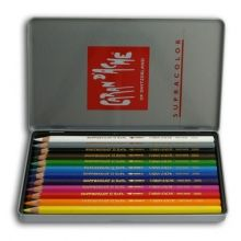 Caran D'Ache Supracolor Artist Quality Water-Soluble Colour Pencils Tin of 12