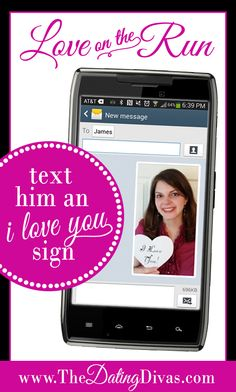 Surprise your spouse with this easy gift idea - send him a photo of you holding an I LOVE YOU sign! www.TheDatingDivas.com #romanticideas #giftsforhim #easygiftideas