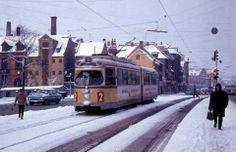 Linie 2 på Christianshavns Torv i december 1968
