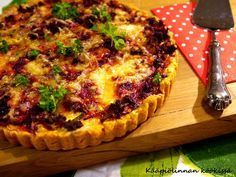Watch the beet! Vegetable Recipes, Vegetable Pizza, Hawaiian Pizza, Beets, Side Dishes, Good Food, Snacks, Breakfast, Quiches