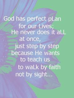 God has a perfect plan for our lives...