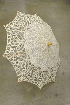 Vintage encaje Parasol paraguas – Lolita romántico de ganchillo