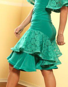 Dance America S415 - Lace Ruffled Latin Dance Skirt   Dancesport Fashion @ DanceShopper.com