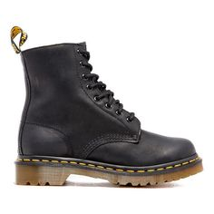 Dr. Martens Women's Serena Burnished Wyoming 8-Eye Boots ($135) ❤ liked on Polyvore featuring shoes, boots, black, leather boots, flat leather boots, black flat shoes, black shoes and shearling-lined boots