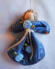 Blue Levi Angel Ornament Blue Flowered Denim Pocket Christmas or Wreath Handmade