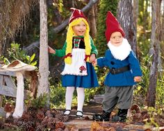 Faschingskostueme-Kinder-lustig-Zwerge-Geschwister-Junge-Maedchen