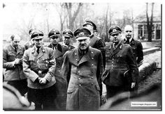 Perhaps the last photograph of Hitler. Seen with his officers days before he died.