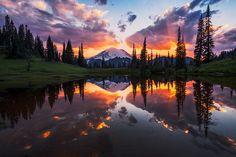 Mt Rainier under an intense sky at sunset