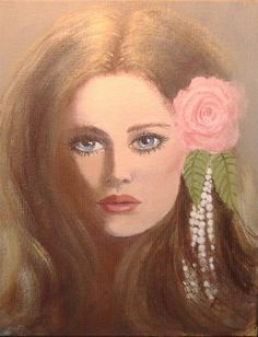 A rose and pearls in her hair.. Original acrylic painting on canvas, 9'x12'.....A feminine, sensuous and beautiful lady looking out at the viewer with anger and arrogance.  No matter how I try, for some reason my ladies are never really happy. They ...