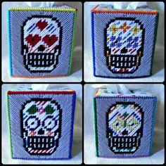Sugar Skulls PLastic Canvas Tissue Box Cover by agorby00.deviantart.com on @DeviantArt