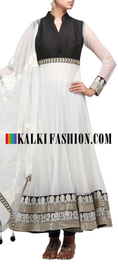 Buy Online from the link below. We ship worldwide (Free Shipping over US$100) http://www.kalkifashion.com/white-anarkali-suit-in-thread-and-zari-work.html White anarkali suit in thread and zari work