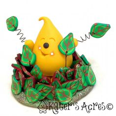 Parker's Autumn Leaf Pile Polymer Clay Character by KatersAcres   Available for Adoption on Etsy