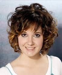 Image result for short curly hair round face
