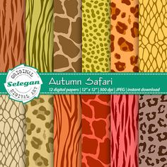 Autumn Safari Digital Printable Patterns. 12x12 high quality digital papers for scrapbooking