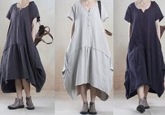 Plus SiZe Shortsleeve Women Dress Linen by PrettyQualityDecor