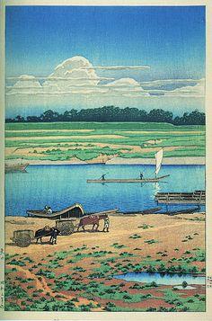 Yaguchi by Kawase Hasui, 1928 (published by Watanabe Shozaburo) Japanese Illustration, Landscape Illustration, Botanical Illustration, Korean Art, Asian Art, Japanese Prints, Japanese Art, Japanese Woodcut, Japanese Landscape