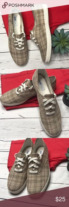 {Keds} sz 10 tan plaid sneakers So versatile! Tan with red and black accents. In excellent condition! Keds Shoes Sneakers