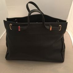 """Forever 21 black tote Never been worn!  Has rings to attach a longer strap.  Measures 11"""" x 14"""" x 6"""". Happy to answer questions! Forever 21 Bags Totes"""
