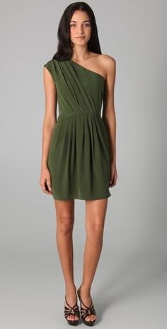 Gorgeous olive green dress. A full length  version of this dress would be perfect!