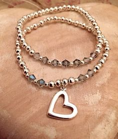 2 Piece Silver Plated Crystal Glass Beaded by Alwaysbethemermaid Heart Bracelet, Etsy Store, Silver Plate, Glass Beads, Beaded Bracelets, Pendant Necklace, Jewellery, Crystals, Gifts