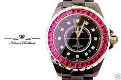 38mm Chanel Black J12 automatic watch, 5.18 CT Baguette Rubies on Bezel