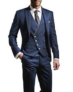 Suit Me Herren 3-Teilig Anzug Slim Fit Hochzeiten Party Smoking Anzuege Sakko,Weste,Hose Blau L Silvester Suit Anzug Partybekleidung