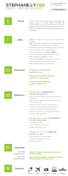 front end developer sample resume