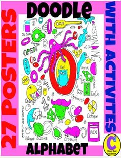 COOL ALPHABET DOODLE POSTERS WITH ACTIVITIES AND SUMMER HUNT DOODLE TOO.