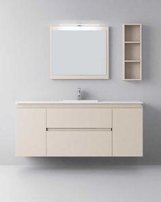 Muebles de baño de diseño moderno y contemporáneo. Muebles de baño fabricados para proyectos a medida . Fabricaciones especiales en medidas y materiales. Muebles de baño compactos o modulares. Lavabos y encimeras en materiales y diseños diversos.Mueble de baño retro iluminado #baños #mueblesdebaño Modern Bathroom Cabinets, Modern Bathrooms, Bathroom Ideas, Container Homes, Vanities, Double Vanity, Toilet, House Plans, Sink